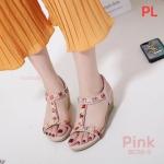 รองเท้าแฟชั่น แบบสวม ส้นเตารีด รัดส้น แต่งอะไหล่สวยหรู รัดส้นยางยืดนิ่ม ยืดหยุ่นกระชับเท้า พื้นนิ่ม ใส่สบาย แมทสวยได้ทุกชุด (B038-5)