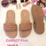 รองเท้าแตะแฟชั่น แบบสวม แต่งอะไหล่สวยเก๋ หนังนิ่ม พื้นนิ่ม ใส่สบาย แมทสวยได้ทุกชุด (CA9507)