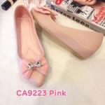 รองเท้าคัทชู ส้นเตารีด แต่งโบว์ประดับเพชรหรูน่ารัก หนังนิ่ม ใส่สบาย ทรงสวย แมทสวยได้ทุกชุด (CA9223)