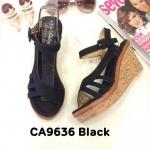 รองเท้าแฟชั่น ส้นเตารีด แบบสวม รัดส้น แต่งสายคาดเฉียงสวยเก๋ หนังนิ่ม ใส่สบาย ส้นสูงประมาณ 4 นิ้ว เสริมหน้า แมทสวยได้ทุกชุด (CA9636)