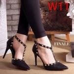 รองเท้าคัทชู ส้นสูง รัดข้อ หน้า T แต่งหมุดสไตล์วาเลนติโนสวยเก๋ ทรงสวย หนังนิ่ม ส้นสูงประมาณ 4 นิ้ว ใส่สบาย แมทสวยได้ทุกชุด
