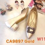 รองเท้าคัทชู ส้นเตี้ย แต่งอะไหล่หรู ส้นแต่งขอบเงาสวยดูดีทรงสวย หนังนิ่ม ส้นสูงประมาณ 1.5 นิ้ว ใส่สบาย แมทสวยได้ทุกชุด (CA9897)