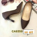 รองเท้าคัทชู ส้นสูง หนังลายเส้นสวย ส้นเหลี่ยมสวยเก๋ ทรงสวย หนังนิ่ม ส้นสูงประมาณ 3.5 นิ้วใส่สบาย แมทสวยได้ทุกชุด (CA9359)