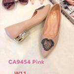 รองเท้าคัทชู ส้นเตี้ย แต่งอะไหล่สวยหรู ส้นเคลือบเงา หนังนิ่ม ทรงสวย ส้นสูงประมาณ 1 นิ้ว ใส่สบาย แมทสวยได้ทุกชุด (CA9454)