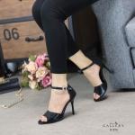 รองเท้าแฟชั่น ส้นสูง รัดข้อ หนังเงาเมทัลลิคสวยเรียบหรู ส้นสูงประมาณ 4 นิ้ว ทรงสวย ใส่สบาย แมทสวยได้ทุกชุด (G1273)