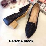 รองเท้าคัทชู ส้นเตี้ย แต่งฉลุลายสวยเก๋ ทรงสวย หนังนิ่ม ส้นลายไม้สูงประมาณ 2 นิ้ว ใส่สบาย แมทสวยได้ทุกชุด (CA9264)