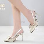 รองเท้าคัทชู ส้นสูง รัดส้น หนังเงาแต่งคาดใสด้านข้างและโบว์หน้าสวยเก๋ ในลุคหวานเซ็กซี่ หนังนิ่ม ทรงสวย ส้นสูงประมาณ 4 นิ้ว ใส่สบาย แมทสวยได้ทุกชุด (A9467-H1)