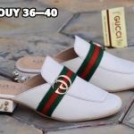 รองเท้าคััทชู เปิดส้น แต่งลายอะไหล่สไตล์กุชชี่ ส้นแต่งมุกสวยหรู ใส่สบาย แมทสวยโดดเด่นได้ทุกชุด