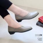 รองเท้าคัทชู ส้นเตี้ย ทรงหัวมน แบบเรียบเก๋ หนังนิ่ม งานสวย ใส่สบาย ส้นสูง 1.5 นิ้ว แมทสวยได้ทุกชุด (79005)
