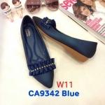 รองเท้าคัทชู ส้นเตารีด แต่งระบายจีบประดับคลิสตัลด้านหน้าสวยหรู ทรงสวย หนังนิ่ม ใส่สบาย แมทสวยได้ทุกชุด (CA9342)