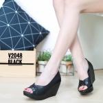 รองเท้าคัทชู ส้นเตารีด เปิดนิ้ว ตัวสีทูโทนสวยเรียบเก๋ หนังนิ่ม ทรงสวย ส้นสูงประมาณ 3 นิ้ว ใส่สบาย แมทสวยได้ทุกชุด (V2048)
