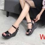 รองเท้าแฟชั่น ส้นเตารีด รัดส้น แบบสวม แต่งลายด้านหน้าสไตล์อีฟแซงสวยเก๋ หนังนิ่ม สูงประมาณ 4 นิ้ว เสริมหน้า ใส่สบาย แมทสวยได้ทุกชุด (KP992)