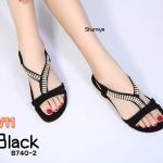 รองเท้าแตะแฟชั่น แบบสวม รัดส้น แต่งอะไหล่เพชรคลิสตัลสวยหรู ทรงสวย พื้นนิ่ม รัดส้นยางยืดนิ่ม ใส่สบาย แมทสวยได้ทุกชุด (B740-2)