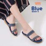 รองเท้าแตะแฟชั่น แบบสวม คาด 2 ตอน แต่งคลิสตัลสวยหรู พื้นนิ่ม ใส่สบาย แมทสวยได้ทุกชุด (8305-3)