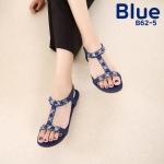 รองเท้าแตะแฟชั่น แบบสวม รัดส้น แต่งอะไหล่ดอกไม้คลิสตัลสวยหรู ทรงสวย พื้นนิ่ม รัดส้นยางยืดนิ่ม ใส่สบาย แมทสวยได้ทุกชุด (B62-5)
