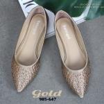 รองเท้าคัทชู ส้นเตี้ย หัวแหลม ประดับคริสตัลสวยหรู น้ำหนักเบา ใส่กับชุดได้หลากหลายสไตล์ การันตีความสวย ดูดี หนังนิ่ม ทรงสวย ใส่สบาย แมทสวยได้ทุกชุด ( 905-647)