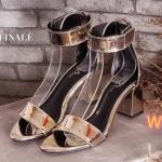 รองเท้าแฟชั่น ส้นสูง รัดข้อ แบบสวม หนังเงาเมทัลลิคสุดเก๋ ทรงสวย ส้นสูงประมาณ 3 นิ้ว แมทสวยได้ทุกชุด