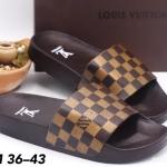 รองเท้าแตะแฟชั่น แบบสวม แต่งลายตารางดาเมียร์สไตล์ LV วัสดึอย่างดี พื้นยางนิ่มยืดหยุ่น ใส่สบาย แมทสวยได้ทุกชุด