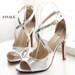 รองเท้าแฟชั่น ส้นสูง รัดส้น แบบสวม หนังเงาแต่งสายไขว้ด้านหน้าสวยหรู หนังนิ่ม ใส่สบาย ส้นสูงประมาณ 4 นิ้ว แมทสวยได้ทุกชุด (FH-645)
