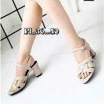 รองเท้าแฟชั่น ส้นสูง รัดส้น แบบสวม แต่งลายด้านหน้าสไตล์อีฟแซงสวยเก๋ หนังนิ่ม สูงประมาณ 3 นิ้ว ใส่สบาย แมทสวยได้ทุกชุด