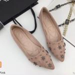 รองเท้าคัทชู ส้นแบน ทรงหัวแหลมแต่งเพชรสวยหรู หนังนิ่ม ใส่สบาย ทรงสวย แมทสวยได้ทุกชุด (K5028)