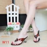 รองเท้าแฟชั่น ส้นเตารีด แบบหนีบ แต่งสายพลาสติกใสนิ่มสวยเก๋ ส้นใสสวยอินเทรนด์ ส้นสูงประมาณ 3 นิ้ว ใส่สบาย แมทสวยได้ทุกชุด (M1846)