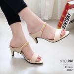 รองเท้าแฟชั่น ส้นสูง แบบสวม ทรงแมกซี่แต่งโซ่ทองสวยหรู หนังนิ่ม พื้นนิ่ม งานสวย ใส่สบาย ส้นสูง 2.5 นิ้ว แมทสวยได้ทุกชุด (4042