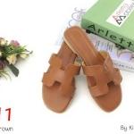 รองเท้าแตะแฟชั่น แบบสวม คาดหน้า H สไตล์แอร์เมส เรียบเก๋ ใส่สบาย แมทสวยได้ทุกชุด (KT19)