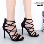รองเท้าแฟชั่น ส้นสูง ดีไซน์หน้าสานหนังกำมะหยี่นิ่ม แต่งซิปหลัง สูง 4.5 นิ้ว งานสวยเป๊ะ ใส่แล้วปังมากขับผิวเท้าโดดเด่น หนังนิ่ม ใส่สบาย แมทสวยได้ทุกชุด (QY-07)