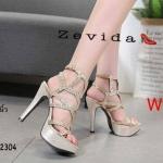 รองเท้าแฟชั่น ส้นส้น รัดข้อ หนังกลิสเตอร์เป็นประกายแต่งลายสวยหรู ทรงสวย หนังนิ่ม ส้นสูงประมาณ 5 นิ้ว เสริมหน้า ใส่สบาย แมทสวยได้ทุกชุด (17-2304)