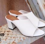 รองเท้าแฟชั่น ส้นสูง แบบสวม แต่งตะเข็บหน้าสวยเรียบเก๋สไตล์แอร์เมส หนังนิ่ม ทรงสวยเก็บหน้าเท้า ใส่สบาย แมทสวยได้ทุกชุด (HT09)