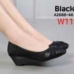 รองเท้าคัทชู ส้นเตารีด แต่งสายไขว้หน้าสวยเก๋ ทรงสวย หนังนิ่ม ส้นสูงประมาณ 2 นิ้ว ใส่สบาย แมทสวยได้ทุกชุด (A2688-46)