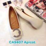 รองเท้าคัทชู ส้นเตี้ย แต่งอะไหล่เข็มขัดเพชรด้านหน้าสวยหรู หนังนิ่ม ทรงสวย ใส่สบาย แมทสวยได้ทุกชุด (CA9408)
