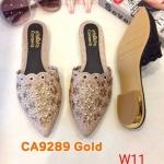 รองเท้าคัทชู เปิดส้น หนังกลิสเตอร์วิ้งแต่งอะไหล่คลิสตัลดอกไม้สวยหรู ส้นแต่งขอบทอง หนังนิ่ม ใส่สบาย แมทสวยได้ทุกชุด (ฺCA9289)