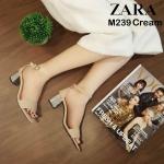 รองเท้าแฟชั่น ส้นสูง รัดข้อ แต่งส้นเคลือบเงาสวยเรียบเก๋สไตล์ ZARA ทรงสวย หนังนิ่ม ส้นสูงประมาณ 2.5 นิ้ว ใส่สบาย แมทสวยได้ทุกชุด (M239)