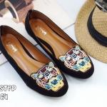 รองเท้าคัทชู ส้นแบน แต่งลายปักด้านหน้าลายเสือสไตล์เคนโซ่สวยเก๋ ทรงสวย ใส่สบาย แมทสวยได้ทุกชุด (TG264)