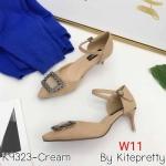 รองเท้าคัทชู ส้นเตี้้ย รัดส้น หนังสักหราดแต่งอะไหล่ด้านหน้าสวยหรู หนังนิ่ม ส้นสูงประมาณ 2 นิ้ว ใส่สบาย แมทสวยได้ทุกชุด (K9323)