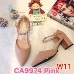รองเท้าคัทชู ส้นเตี้ย รัดส้น แต่งหมุดทองสวยหรูสไตล์วาเลนติโน หนังนิ่ม ทรงสวย ส้นสูงประมาณ 2.5 นิ้ว ใส่สบาย แมทสวยได้ทุกชุด (CA9974)