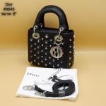 กระเป๋าแฟชั่น สไตล์ดิออร์ 8 นิ้ว แต่งหมุดสวยหรู พร้อมพวงกุญแจ สายยาวถอดได้ สะพายสวยได้ทุกชุด (6645)