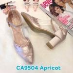 รองเท้าคัทชู รัดส้น ส้นสูง แต่งลายปักสวยหวาน ทรงสวย ส้นสูงประมาณ 2.5 นิ้ว ใส่สบาย แมทสวยได้ทุกชุด (CA9504)