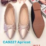 รองเท้าคัทชู ส้นแบน แต่งขอบร้อยหนังและโบว์สวยน่ารัก หนังนิ่ม ใส่สบาย แมทสวยได้ทุกชุด (ฺCA9227)
