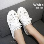 รองเท้าคัทชู สไตล์ผ้าใบ หนังฉลุลายสวยน่ารัก แต่งเชือกผูกด้านหน้า ทรงสวย ใส่สบาย แมทสวยได้ทุกชุด (345-106)