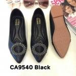รองเท้าคัทชู ส้นแบน ทรงหัวแหลม แต่งอะไหล่สวยหรู หนังนิ่ม พื้นนิ่ม ใส่สบาย แมทสวยได้ทุกชุด (CA9540)
