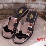 รองเท้าแตะแฟชั่น แบบสวม หนังเงาเมทัลลิค คาดหน้า H สไตล์แอร์เมสสวยเก๋ ใส่สบาย แมทสวยได้ทุกชุด