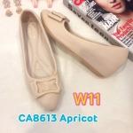 รองเท้าคัทชู ส้นเตารีด แต่งเข็มขัดด้านหน้าสวยเก๋ หนังนิ่ม พื้นนิ่ม ใส่สบาย แมทสวยได้ทุกชุด (CA8613)