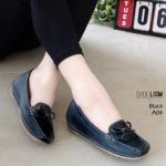 รองเท้าคัทชู ทรง loafer ส้นเตารีด แต่งโบว์สวยน่ารัก หนังนิ่ม พื้นนิ่ม งานสวย ใส่สบาย ส้นสูง 2 นิ้ว แมทสวยได้ทุกชุด (A04)