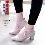 รองเท้าคัทชู ส้นเตี้ย แต่งสวยหน้าไขว้ สวยเก๋ หนังนิ่ม ส้นหนาแบบนี้เดินสบายทั้งวัน สายคาดใส่ยางยืด ส้น 2.5 ทรงสวย ใส่สบาย แมทสวยได้ทุกชุด (129-17)