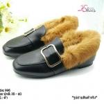 รองเท้าคัทชู ส้นแบน แต่งอะไหล่และขนเฟอร์รอบสไตล์กุชชี่ ดีไซน์สวยเกร๋ วัสดุหนังนิ่มคุณภาพอย่าง หนังนิ่ม ทรงสวย ใส่สบาย แมทสวยได้ทุกชุด (996)