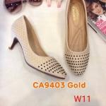 รองเท้าคัทชู ส้นเตี้ย รัดข้อ หนังปักลายเกล็ดแต่งหมุดด้านหน้าสวยหรู หนังนิ่ม ส้นสูงประมาณ 2 นิ้ว ใส่สบาย แมทสวยได้ทุกชุด (ฺCA9403)