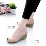 รองเท้าคัทชู ส้นเตารีด เปิดนิ้ว หนังเนียนสวยเรียบหรู หนังนิ่ม พื้นนิ่ม งานสวย ส้นสูง 3 นิ้ว แมทสวยได้ทุกชุด (10158)